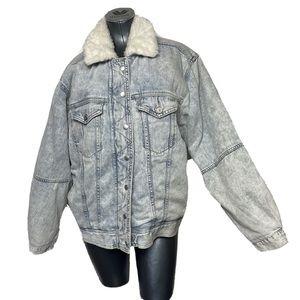 American Eagle Denim Fur Lined Jacket Washed